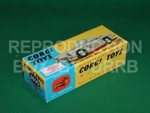 "Corgi #303S Mercedes 300 SL - Reproduction Box ( Open Roadster ) ""THE WITH SUSPENSION VERSION"""